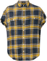 R 13 frayed plaid shirt