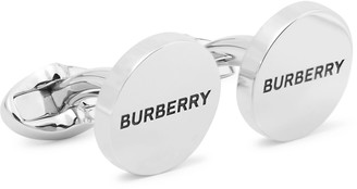 Burberry Logo-Engraved Silver-Plated And Enamel Cufflinks
