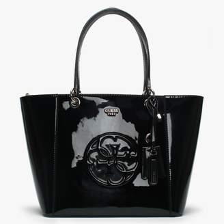 GUESS Kamryn Black Patent Tote Bag
