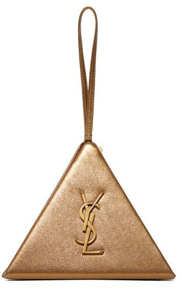 Saint Laurent Pyramid Metallic Leather Clutch Bag - Womens - Gold