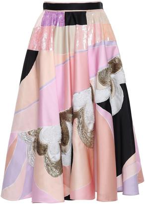 Emilio Pucci Flared Embellished Printed Satin Skirt