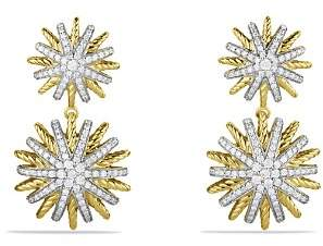 David Yurman Starburst Double-Drop Earrings with Diamonds in Gold
