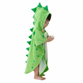Clodeeu Baby Sleepwear Infant Baby Boys Girls Kids Bathrobe Cartoon Dinosaur Hooded Plush Fleece Dressing Gown Bath Towel Pajamas (Free Size