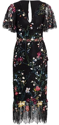 Marchesa Notte Floral Embroidery Lace Midi Dress