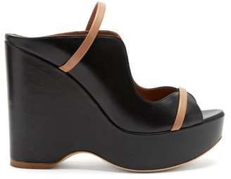 Malone Souliers Norah Leather Platform Wedge Sandals - Black Nude