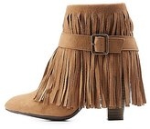 Charlotte Russe Qupid Chunky Heel Belted Fringe Booties