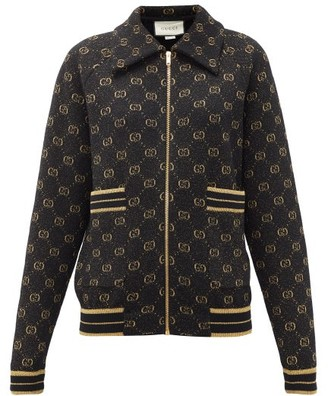 Gucci Logo-jacquard Wool-blend Track Jacket - Womens - Black Gold