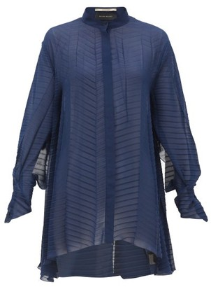 Roland Mouret Staten Batwing-sleeve Pleated Crepe Blouse - Navy