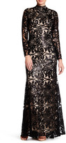 Nicole Bakti Long Sleeve Sequin Embroidered Gown