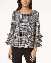 Alfani Houndstooth-Check Ruffle-Sleeve Blouse, Created for Macy's