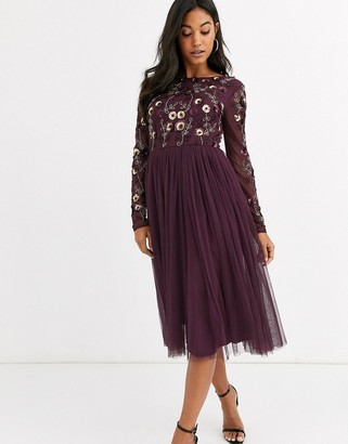 Maya embellished tulle midi dress