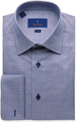 David Donahue Men's Trim-Fit Glen Plaid Dress Shirt with French Cuffs
