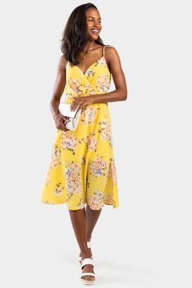 francesca's Carlina Floral Surplice Dress - Yellow