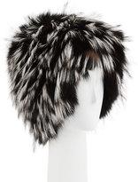 Gigi Burris Millinery Narcissa Fox Fur Cap, Black/Silver