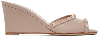 Valentino Pink Garavani Rockstud Wedge Sandals