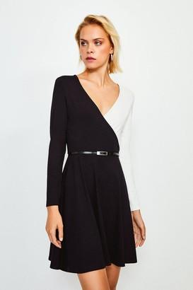 Karen Millen Colour Block Wrap Belted Jersey Dress