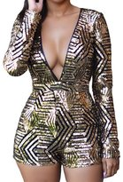Min Qiao Women's Sexy Sequin Plunging V Neck Long Sleeve Open Back Bodycon Jumpsuit Romper Top