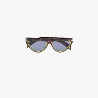 Fendi Eyewear brown and yellow monogram cat eye sunglasses