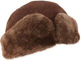 Crown Cap Men's Leather Ushanka Hat w/ Fur Trim