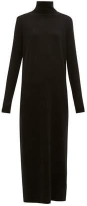 Allude Roll Neck Wool Blend Maxi Sweater Dress - Womens - Black