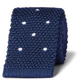 Dunhill 6cm Polka-Dot Knitted Linen and Mulberry Silk-Blend Tie