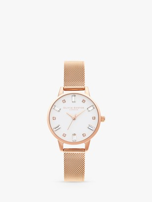 Olivia Burton OB16BJ02 Women's Bejewelled Mesh Bracelet Strap Watch, Rose Gold/White