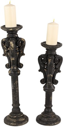 Willow Row Vintage Style Large Black Carved Wood Candle Holders with Candle Plates & Spikes - Set of 2