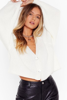 Nasty Gal Womens Keep Knit Chilled V-Neck Cropped Cardigan - White - S