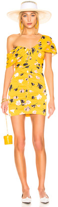Self-Portrait for FWRD Off Shoulder Printed Mini Dress in Yellow | FWRD