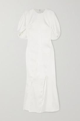 REJINA PYO Lucinda Paneled Crinkled-satin Midi Dress - Ivory