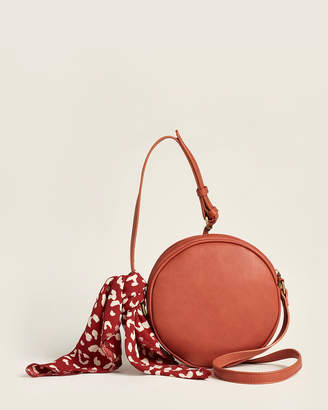 Street Level Burnt Round Crossbody With Leopard Effect Scarf