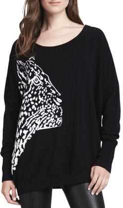 Milly Cheetah-Pattern Knit Sweater
