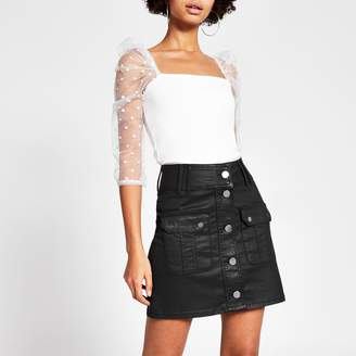 River Island Womens Black coated button front denim mini skirt