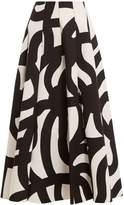 Junya Watanabe Scribble-print bonded-cotton midi skirt
