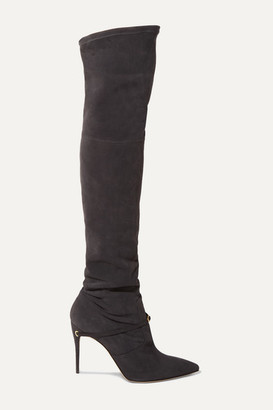 Jennifer Chamandi Alessandro 105 Suede Over-the-knee Boots - Dark gray