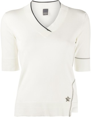 Lorena Antoniazzi star plaque contrast trim knitted top