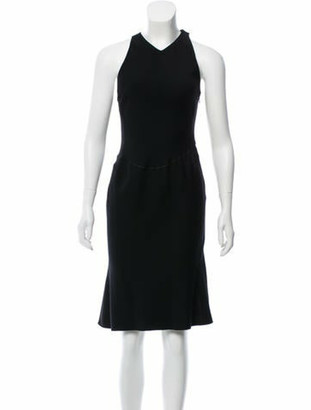 Alaia Sleeveless Wool Dress Black