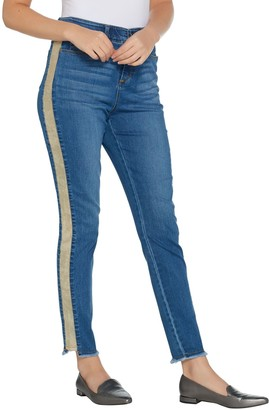 Kelly by Clinton Kelly Regular Ankle Jeans with Faux Suede Detail