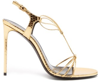 Saint Laurent Robin Metallic-leather Slingback Sandals - Womens - Gold