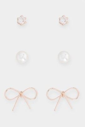 francesca's Bow Pearl Cubic Zirconia Studs Set In Rose Gold - Rose/Gold