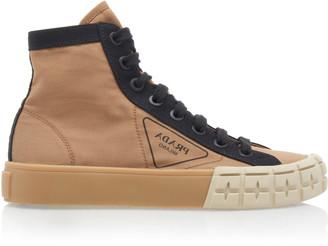 Prada Two-Tone Gabardine High Top Sneakers