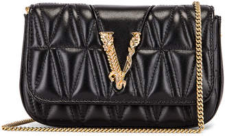 Versace Quilted Leather Tribute Rectangle Crossbody Bag in Black & Gold | FWRD