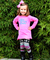 Beary Basics Pink 'Let It Snow' Tee & Leggings - Toddler & Girls