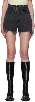 Alexander Wang Belted paper bag waist denim shorts