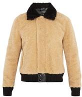 Saint Laurent Contrast-trim Shearling Bomber Jacket