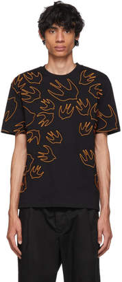 McQ Black and Orange Embroidered Swallow T-Shirt
