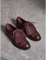 Burberry Lace-up Kiltie Fringe Riveted Leather Loafers , Size: 37, Purple