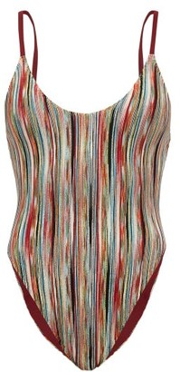 Missoni Mare High-cut Striped-lame Swimsuit - Multi