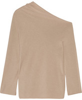 The Row Nandac One-shoulder Pima Cotton And Silk-blend Sweater - Mushroom