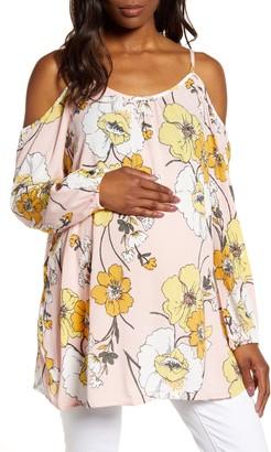 Fourteenth Place Floral Cold Shoulder Maternity Top